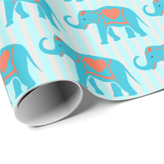 Teal turquoise, blue Elephants, on blue stripes Wrapping Paper