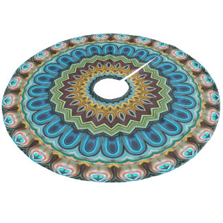 Teal Turquoise Blue Green Mandala Star Pattern Fleece Tree Skirt