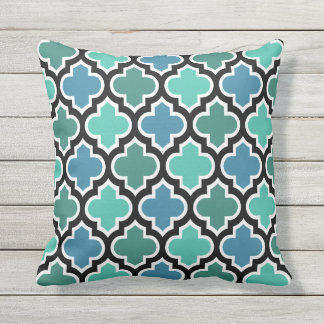 Teal Turquoise Blue Moroccan Quatrefoil Pattern Outdoor Pillow