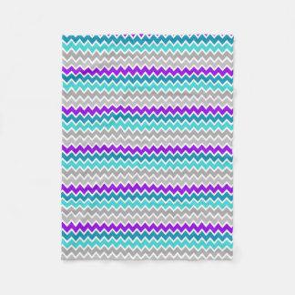 Teal Turquoise Blue Purple Grey Gray Chevron Fleece Blanket