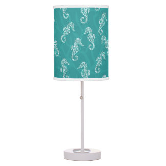 Teal Turquoise Coral Reef Seahorse Table Lamp