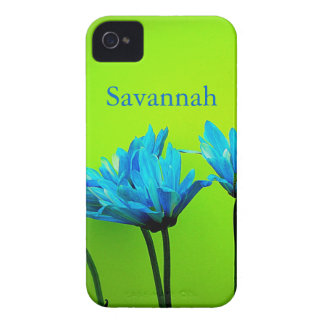 Teal Turquoise Daisies on Lime Green Flowers Case