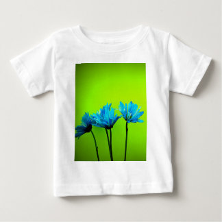 Teal Turquoise Daisies on Lime Green Flowers Gifts Baby T-Shirt