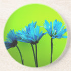 Teal Turquoise Daisies on Lime Green Flowers Gifts Coaster