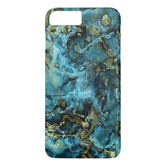 Teal Turquoise Faux Gold Minerals Agate Pattern iPhone 8 Plus/7 Plus Case