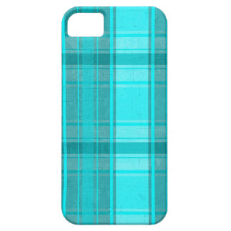 Teal Turquoise Faux Textile Tartan Plaid Pattern iPhone 5 Cover