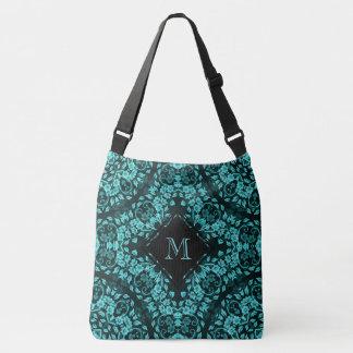 Teal Turquoise Floral Mandala Monogram Crossbody Bag