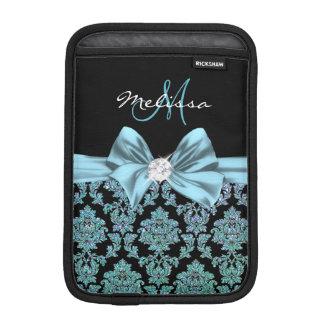 Teal turquoise glitter Black Damask, Bow, Monogram iPad Mini Sleeve