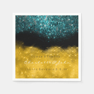 Teal Turquoise Gold Black White Confetti Glitter Disposable Napkins