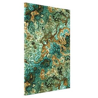 Teal Turquoise Gold Brown Minerals Marble Pattern Canvas Print