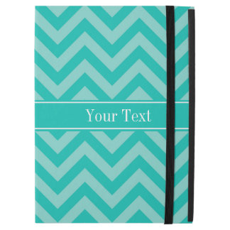 "Teal Turquoise LG Chevron Teal Name Monogram iPad Pro 12.9"" Case"