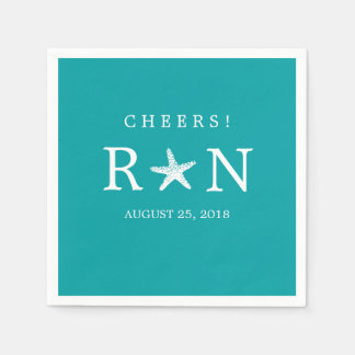 Teal Turquoise Monogram Starfish | Wedding Paper Napkins