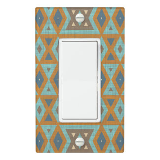 Teal Turquoise Orange Brown Eclectic Ethnic Look Light Switch Cover