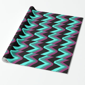 Teal, Turquoise, plum & black zigzag print Wrapping Paper