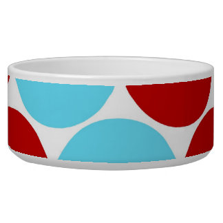 Teal Turquoise Red Big Polka Dots Pattern Gifts Pet Food Bowl