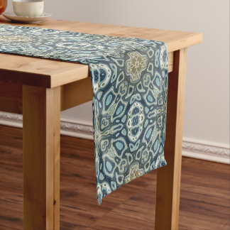 Teal Turquoise Seafoam Green Bali Batik Pattern Medium Table Runner
