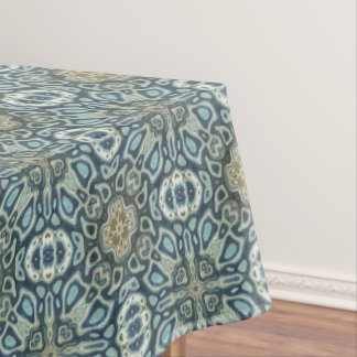 Teal Turquoise Seafoam Green Bali Batik Pattern Tablecloth