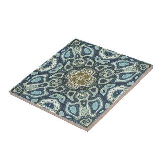 Teal Turquoise Seafoam Green Bali Batik Pattern Tile