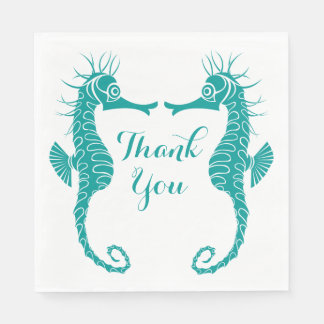Teal Turquoise Thank You  Seahorse Beach Wedding Paper Napkins