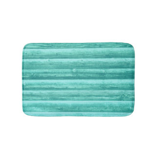 Teal Turquoise Wood Background Bath Mat