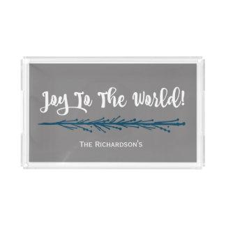 Teal Twigs Joy To The World Christmas Acrylic Tray