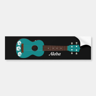 teal ukulele hibiscus design bumper sticker