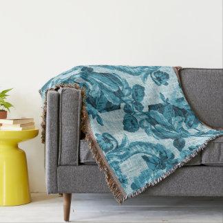 Teal Vintage Botanical Floral Toile Fabric Throw Blanket