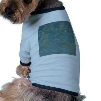 Teal vintage damask victorian elegant chic fabric doggie tee shirt