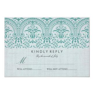 Teal Vintage Damask Wedding RSVP Card