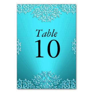 Teal Vintage Damask Wedding Table Number Table Card