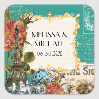 Teal Vintage Eiffel Tower Rose Favor Gift Tags Square Sticker