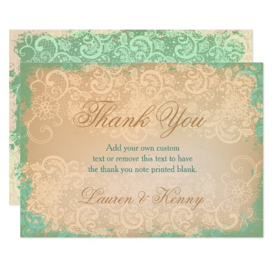 Teal, Vintage Lace Thank You Cards