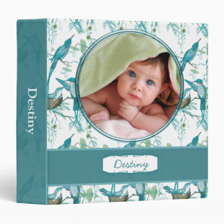 Teal Vintage Moma Papa and Baby Bird -Your Photo Binders