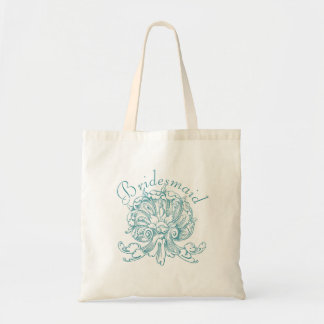 Teal Vintage Sea Shell Scroll Wedding Bridesmaid Tote Bag