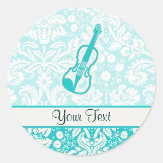 Teal Violin Classic Round Sticker