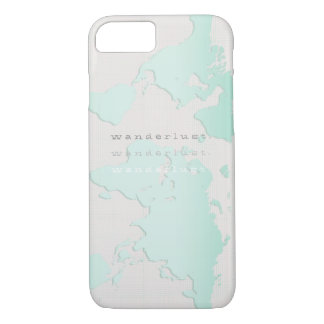 Teal 'wanderlust' map iPhone 7 case
