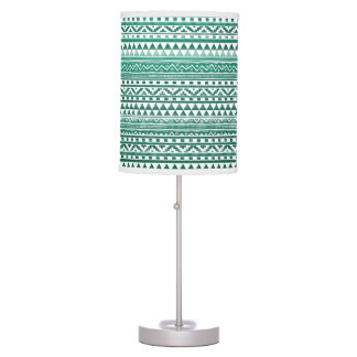 Teal Watercolor Abstract Aztec Tribal Print Pattrn Table Lamp