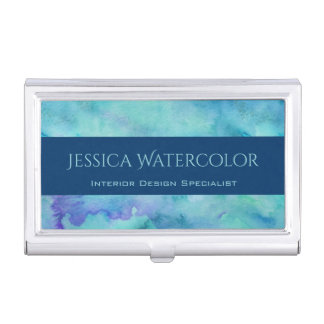 Teal Watercolor Background with Blue Banner Stripe Business Card Case