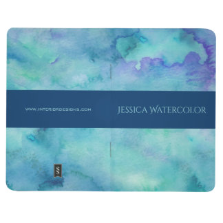 Teal Watercolor Background with Blue Banner Stripe Journal