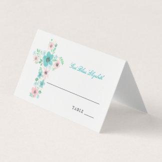 Teal Watercolor Christian Flower Cross Card