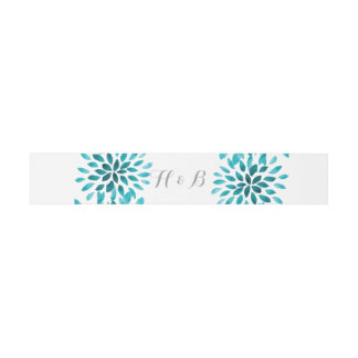 Teal Watercolor Chrysanthemum Belly Bands Invitation Belly Band