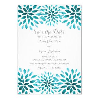 Teal Watercolor Chrysanthemum Save the Date Card
