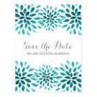 Teal Watercolor Chrysanthemum Save the Date Postcard