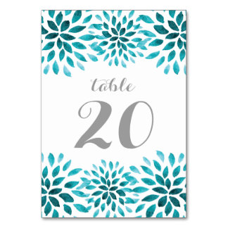 Teal Watercolor Chrysanthemum Table Number Card