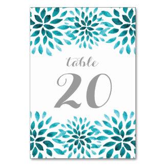 Teal Watercolor Chrysanthemum Table Number Card Table Card