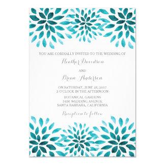 Teal Watercolor Chrysanthemums Wedding Invite