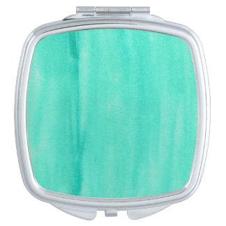 Teal Watercolor Compact Mirror