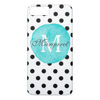 Teal Watercolor Dots Personalized iPhone 7 Plus iPhone 7 Plus Case