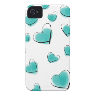 Teal Watercolor Heart Polka Dot Sketch iPhone 4 Cover
