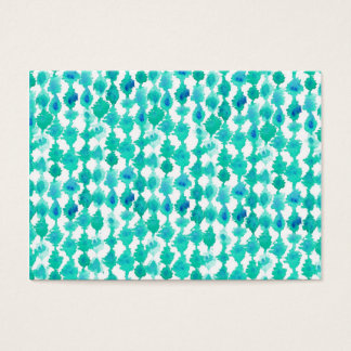 Teal Watercolor Ikat Pattern Business Card